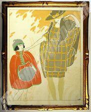 POCHOIR ART DECO 1920 André DOMIN (2) 1883-1962 20x16cm Les Feuillets d'Art