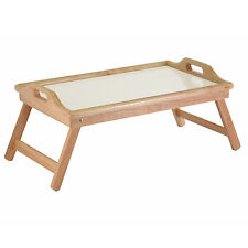 NEW Winsome Wood Breakfast Bed Lap Tray Handle Foldable Legs Natural Carry White