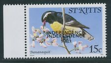 ST. KITTS 1983 provisional Independence issue 15C Bird VARIETY DOUBLE OVERPRINT