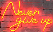 "Never Give Up Neon Lamp Sign 14""x9"" Acrylic Bright Lighting Artwork Glass Bar B"