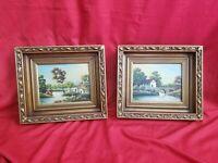 Vintage Pair Of Paintings Landscape Signed Finel Gorgeous Frame Lot X 2