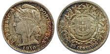PORTUGAL 20 CENTAVOS 1916 KM#562 XF+++!!!