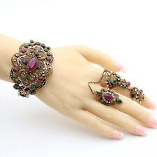 Women Turkish Bracelet Bangle Double Finger Chain Ring Retro Red Vintage Flower