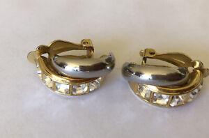 Vintage 90s  Gold n silver Clip Chunky Hoop Huggie clip Earrings Rhinestone