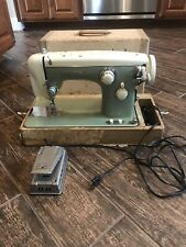 Rare Vintage White Japanese Sewing Machine w Foot Pedal Carry Case Tested Works