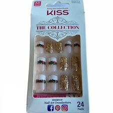 NEW Kiss Nails The Collection Glue Manicure Medium French Green Gold Christmas