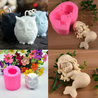 3D Silicone Mold Owl Baby Mermaid Candle Wax Mould Cake Chocolate Craft DIY Tool