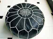 Ottoman Black Foot stool Leather Round  Poof Pouffe Hassock Moroccan footstool