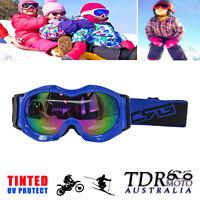 BLUE Snow Snowmobile Snowboard SKI UV GOGGLES Kids Boy Girl Winter Sports