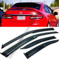 Fit 12-15 Honda Civic 4DR Sedan JDM Mugen Style 3D Wavy Chrome Trim Window Visor