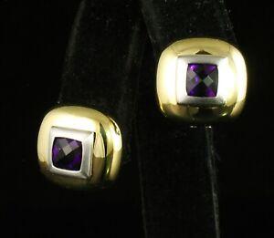 FINE CUSHION CUT NATURAL 2.22ctw PURPLE AMETHYST 14K GOLD HUGGIE OMEGA EARRINGS