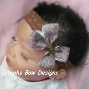 US Marine ACU Camo Dainty Hair Bow Headband Preemie Newborn Toddler Camouflage