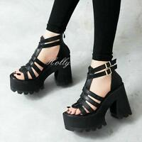 Womens Chunky Heels Platform Strap Open Toe Sandals Gladiator Punk #@black