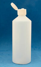 10 x 500ml Round Natural Plastic Bottles with 28mm Flip Top Screw Caps