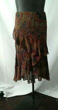 Chaps Women's Sz L  Sheer Overlay Pull-On Paisley Print Multi Color Hi Lo Skirt