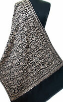 Black Crewel Embroidered Paisley Wool Shawl. Creamy White Embroidery Pashmina