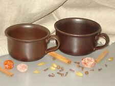 Coffee Tea Cups 2 Brown Matte Sweden Pottery Ceramics Stoneware HOGANAS KERAMIK