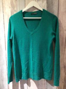 Ladies jade green v neck fine knit jumper size 12 Atmosphere