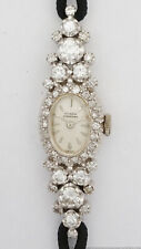 3ctw Mega Diamond 14k White Gold Nivada Grenchen Ladies Vintage Cocktail Watch