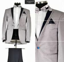 *427* Hochzeitsanzug - 6-teiliger Smoking Herrenanzug Anzug in Silber Grau Gr.54