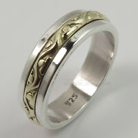 925 Solid Sterling Silver TWO TONE 5 mm Wide Designer Band Ring Size Selectable