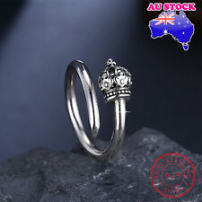 Wholesale 925 Sterling Silver Vintage Crown Adjustable Ring