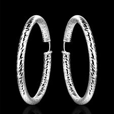 Solid Silver Jewelry Large Round Fishskin Circle Women Hoop Earrings E592