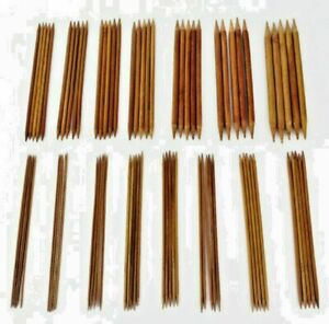 """Bamboo Double Pointed Knitting Needles Sock cable  X 5 20cm/8"""" Choice of Sizes"""