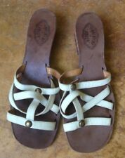Fiorentini Baker Italian Leather Strap Heeled Sandals, White Ivory, 40 (US 9)