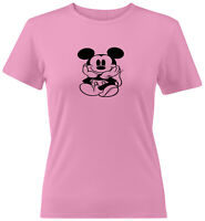 Cute Mickey Mouse Sitting Juniors Teen Tee T-Shirt Gift Shirts Disney Classic