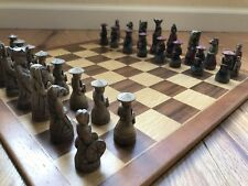 Chess Set - Unique Carved Pieces With Wood Board