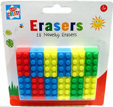 Kids Create -  Novelty Lego Brick Rubber Shape Erasers,18 Pack Assorted Colours