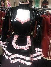 Misfitz black PVC/baby pink satin frilly sissy French Maids Dress Size 24. TV CD