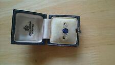 Antique ladies 18ct gold and platinum diamond andsapphire ring