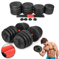 New Weight Dumbbell Set 66 LB Adjustable Cap Gym Barbell Plates Body Workout