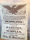 1840 Presidential Election Campaign Broadside Poster ~ William Henry Harrison