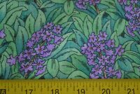 By 1/2 Yd, Lavender Flowers on Green Leaves Quilting Cotton, N592