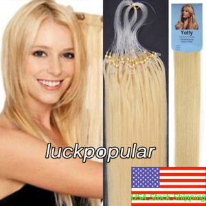 Silicone Micro Ring Beads Loop Tip Remy Real Human Hair Extensions 1g/s 50S/100S