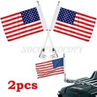 2x Motorcycle American Flag Pole Luggage Rack Mount For Honda Goldwing GL1800 US