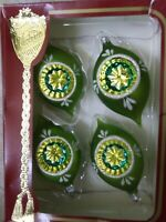 Vintage Rauch Tear Drop Mica Indent Glass Christmas Tree Ornaments Set of 4