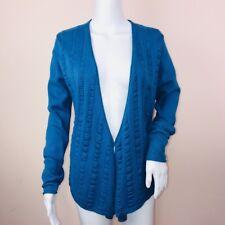 Anne Klein Medium Sweater NEW Teal Blue Cardigan $119