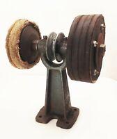 """Vtg antique cast iron belt pulley drive driven bench grinder 6"""""""