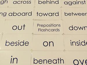 Preposition Words Flashcards.  23 Laminated Black and White Preschool ELA Educat
