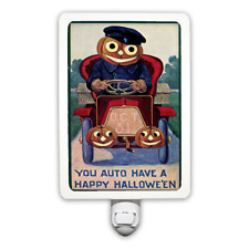 Happy Halloween Pumpkin Head Driving Car Vintage Style Night Light