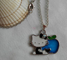 """Kids childrens girls Hello Kitty with an apple necklace 16"""" long"""