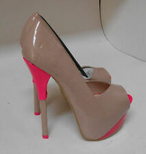 "Nude/pink 6""Stiletto high heel 2""hidden platform open toe sexy shoes size  5 p"