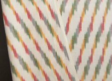 Hand-Woven Ikat Fabric Hand-Dyed Rainbow Colors Artisan Andhra India Cotton