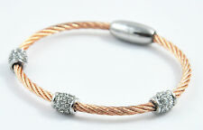 Vintage Rose Gold Two-Tone White Crystals withTwisted Cable Bangle Bracelet