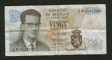 BELGIUM-CIRCULATED PAPER MONEY-20 FRANCS-1964.