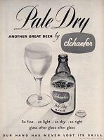 1949 Schaefer Pale Beer Vintage Bottle  PRINT AD